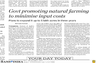 Govt Promoting natural farming to minimise input costs